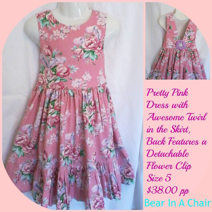 Handmade By Bear In A Chair SUPER SUMMER SPECIAL !!!!!!!!!! Pretty Pink Dress with Awesome Twirl in the SkirtFor more information, please visit https://www.facebook.com/HandmadeMarkets