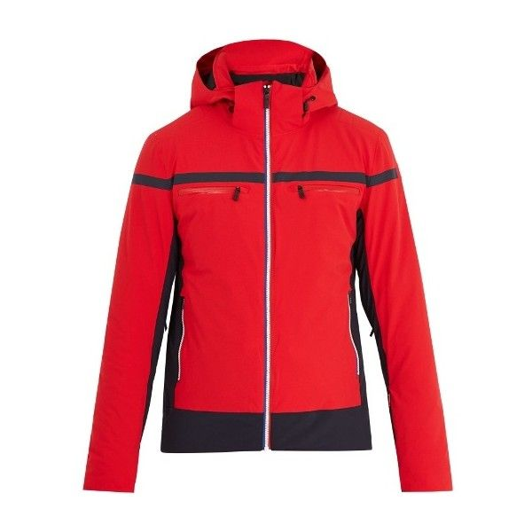 Fusalp Gustavo bi-colour hooded ski jacket ($612) ❤ liked on Polyvore featuring men's fashion, men's clothing, men's activewear, men's activewear jackets, red and red jersey