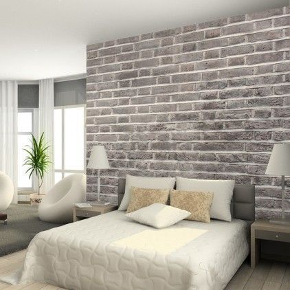 Charcoal Brick Wallpaper From Watts London | Made By Watts | 95.00 | BOUF ·  Wall Paper BedroomBrick Wall BedroomBedroom Accent ... Part 90