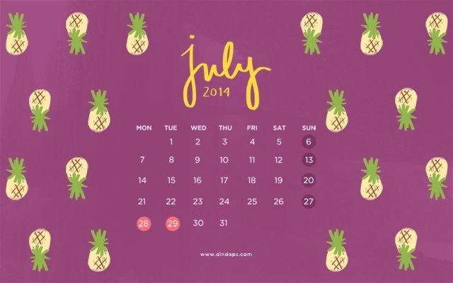 July 2014 Wallpaper Calendar - PINEAPPLE!