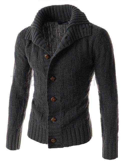 (TNC04-CHARCOAL) Turtle Neck Button  Knit Cardigan