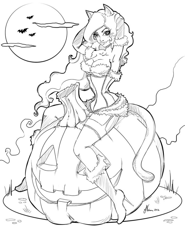 Now I Need To Color It And Still Add The Bows Edit Fixed Up Her Arm Line Work Halloween 2012