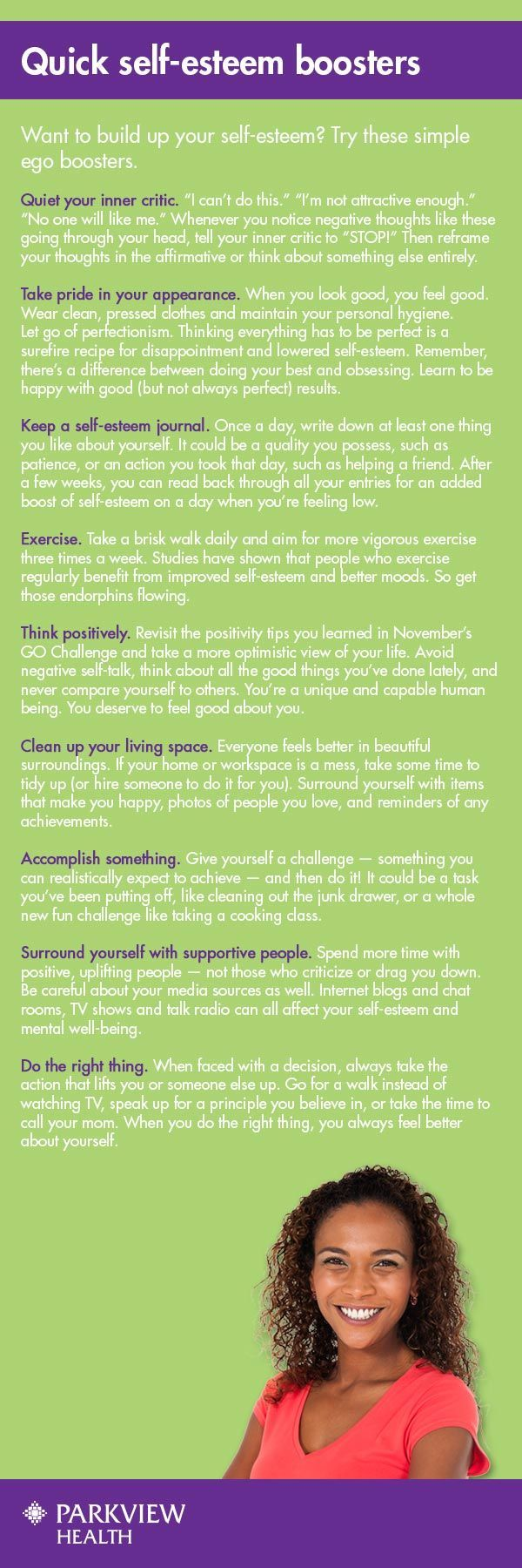 Tips for improving self-esteem and quick self-esteem boosters. | via @ParkviewHealth: