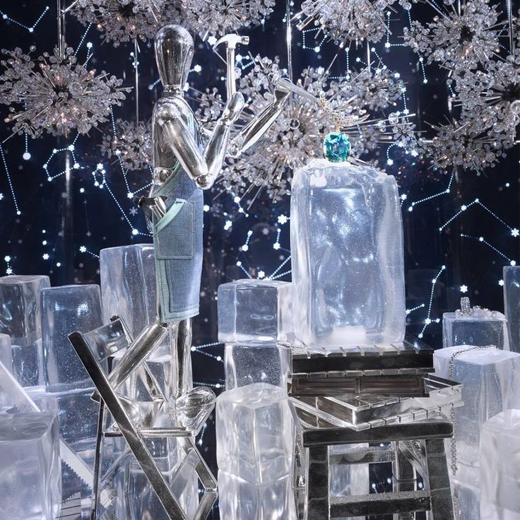 A large metallic artists mannequin sculpting from ice in Tiffany amp Co s Christmas 2017 window display
