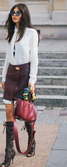 doina-ciobanu-skirt-over-shirt-dress-bordeaux-outfit  thegoldendiamonds