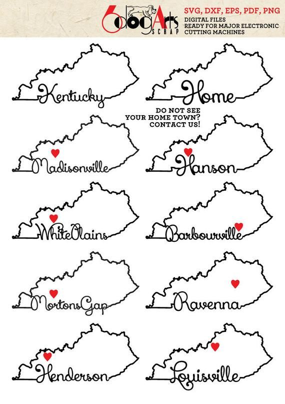 Kentucky Outline Typography Part 5 Vector Files Svg Dxf Eps Png Pdf Silhouette Cricut Heat Transfer Kentucky Outline Kentucky State Map Typography