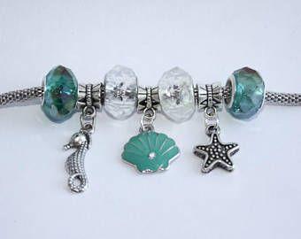 Under The Sea Charm Bracelet - Seahorse - Seashell - Starfish - Three C Jewelry