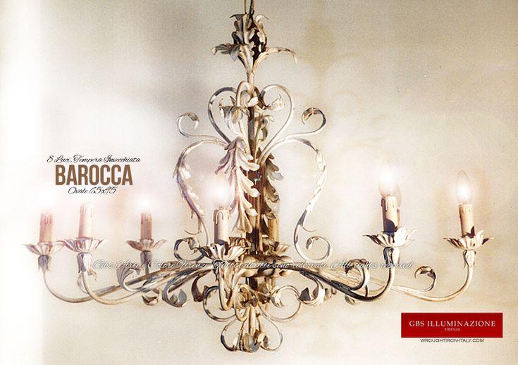 Barocca 8 Luci – Lampadario Bianco Invecchiato | GBS Illuminazione – Ferro Battuto – Wrought Iron – GBS Arte e Colore