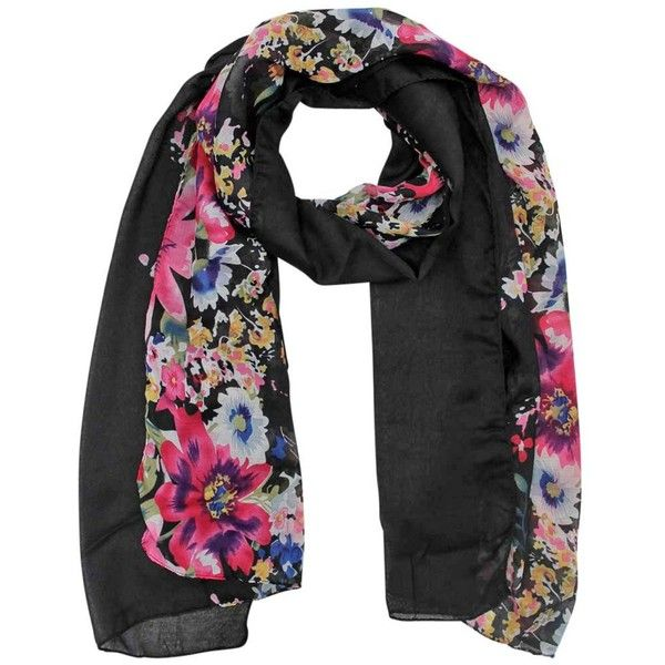 Black Lightweight Summer Blossoms Scarf Wrap (220 EGP) ❤ liked on Polyvore featuring accessories, scarves, black, lightweight, wrap shawl, fringe shawl, light weight scarves, summer shawl and summer scarves