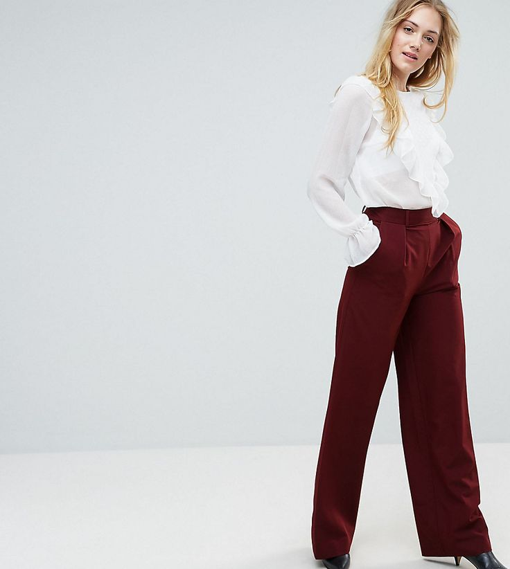 ASOS TALL The Wide Leg Pants with Pleat Detail - Red