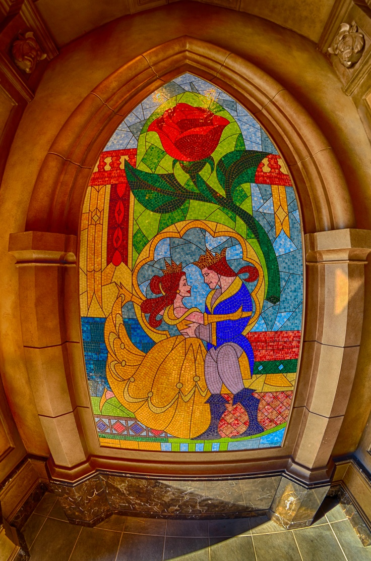 Beauty and the Beast Stain Glass Window at the entrance to the Be Our Guest Restaurant in the New Fantasyland in the Magic Kingdom!