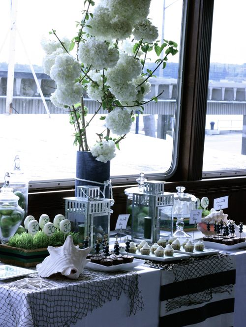 Classy Nautical themed party. Love the simple elegant decor