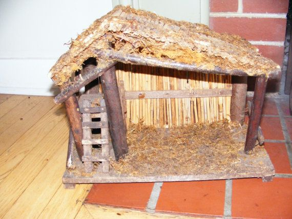 Vintage Wooden Manger Stable for Nativity Scene by GinkgoWay, $38.50