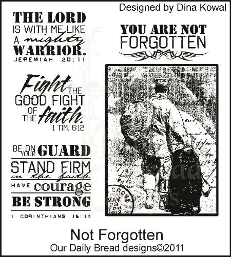 Not Forgotten - Our Daily Bread Designs $22 ... meant for soldiers but these would also be great for men's ministry encouragement cards!