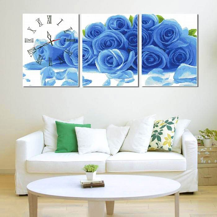 Triptych Simple Fashion And Clear Elegant Blue Rose Cotton Cross Stitch + Free Shipping