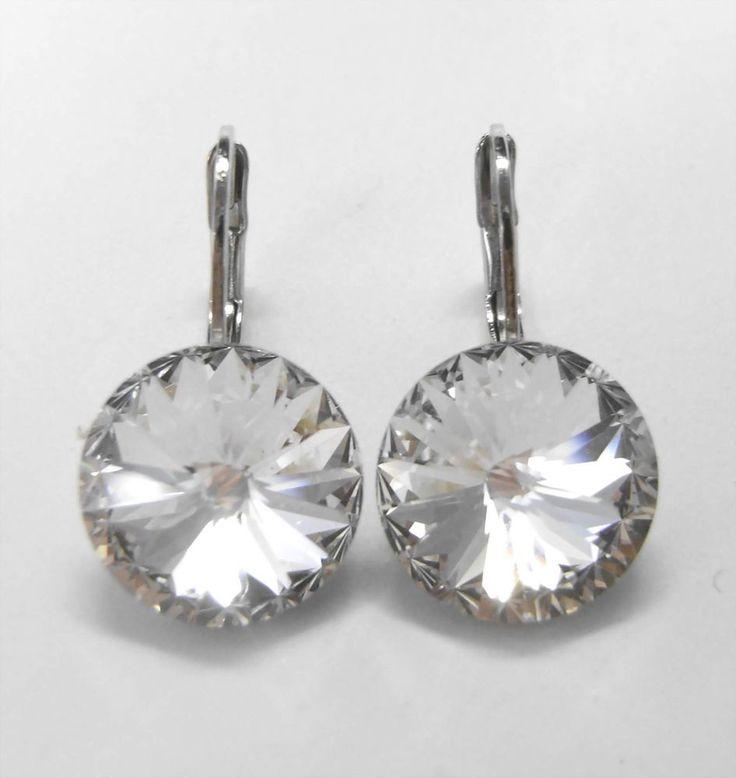 Neu OHRHÄNGER mit 12mm SWAROVSKI STEINE kristallklar/crystal/klar OHRRINGE-£14,49-magoshop1