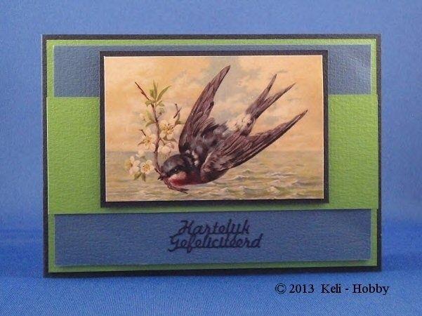 Vogel  Papicolor Original 41 Nachtblauw - 07 Grasgroen - 06 Donkerblauw  Knipvel Vintage Vissen en Vogels GH3050  Sticker VBK001 Hartelijk Gefeliciteerd Blauw