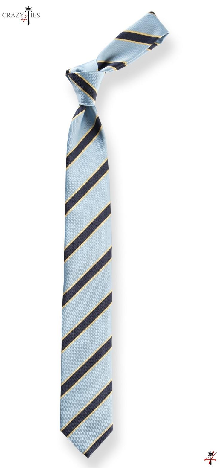 Cravatta Regimental in Seta Mogador Celeste e Blu