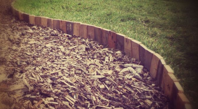 Using pallet wood for cheap lawn edging.