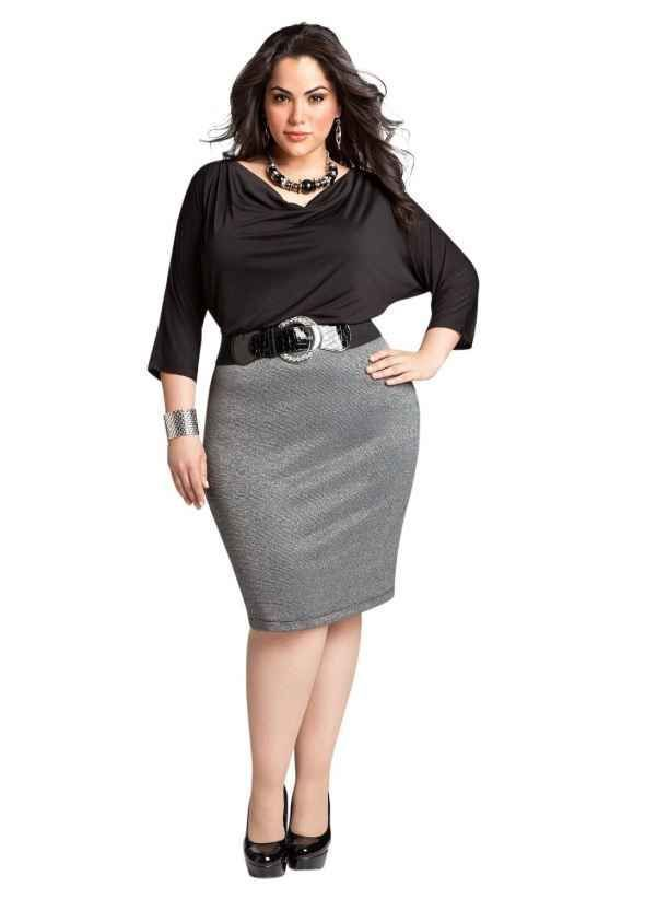 Curvy Woman Gray Pencil Skirt Black Top Black Belt and Black High Heels