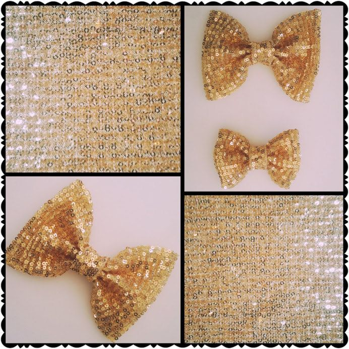gold sequin hair bow on a clip by BeePiki on Etsy