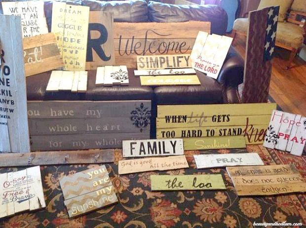 Do It Yourself Pallet Signs. So easy to make @jen (Balancing Beauty and Bedlam/10 Minute Dinners blogs)
