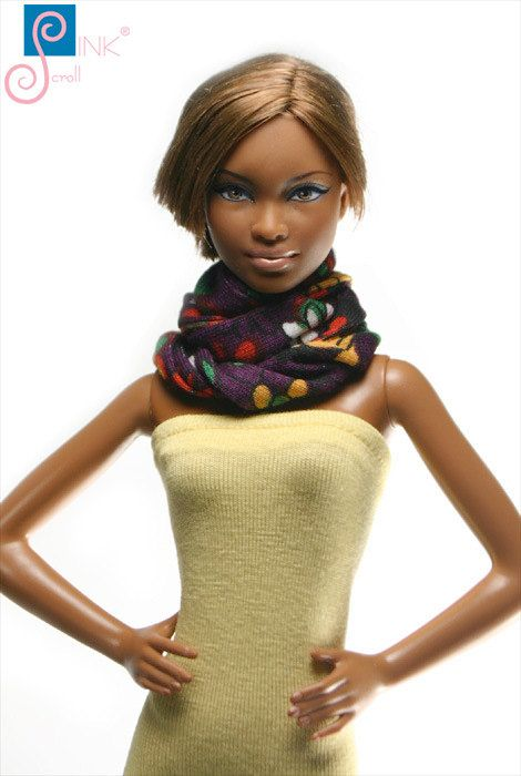 Barbie clothes scarf: Montgat by Pinkscroll on Etsy