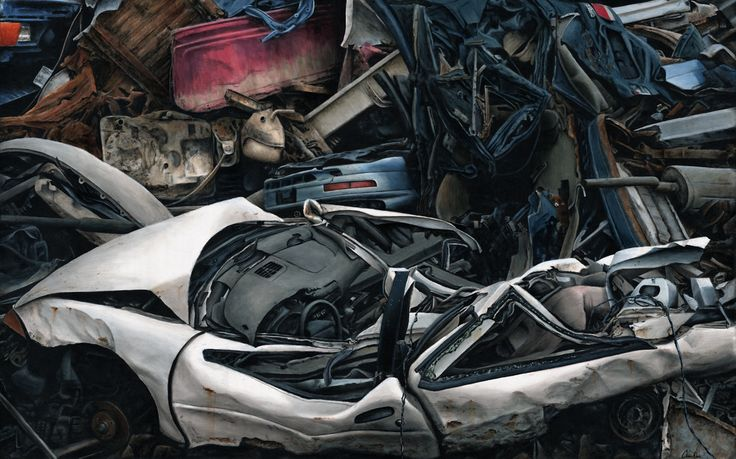 """""""Customised convertible needs some attention"""" Acrylic on canvas 8 feet x 5 feet unframed"""