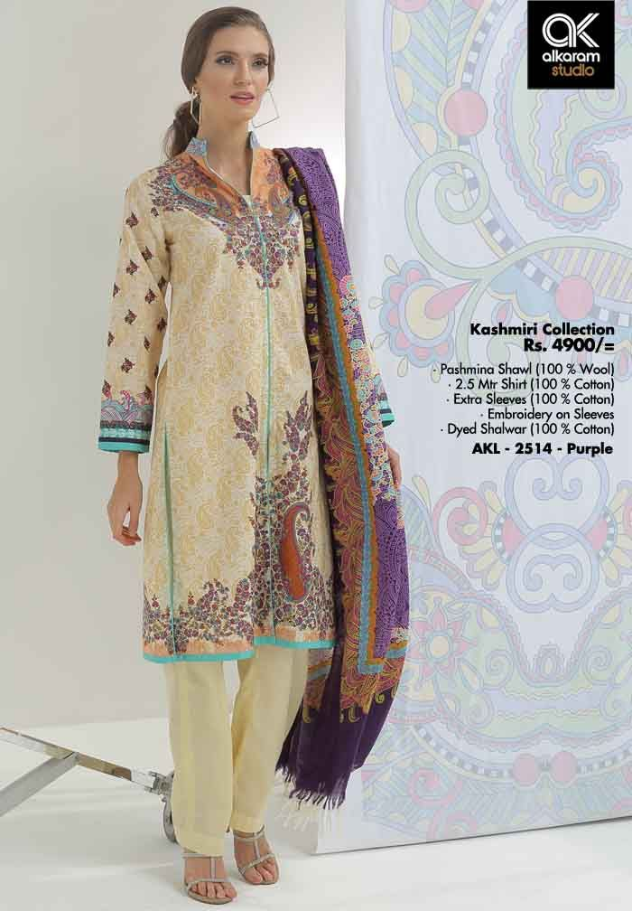 AKL 2514 - Purple Rs. 4900/- Pashmina Shawl (100 % Wool) 2.5 Mtr Shirt (100 % Cotton) Extra Sleeves (100 % Cotton) Embroidery on Sleeves Dyed Shalwar (100 % Cotton)  www.alkaramstudio.com