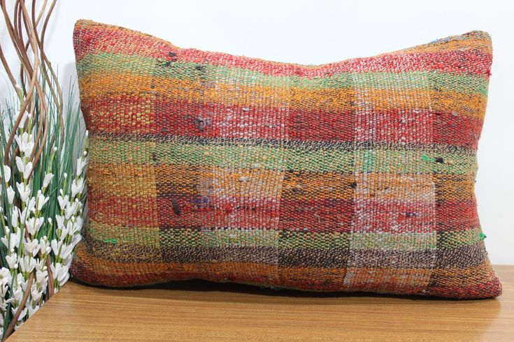 Excited to share the latest addition to my #etsy shop: turkish kilim pillow anatolian kilim pillow 16x24 wool pillow striped pillow bohemian cushion couch pillow 16x24 aztec pillow http://etsy.me/2F6HS0V #housewares #pillow #rectangle #bedroom #cotton #coveronly #kilim