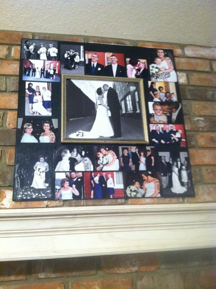 Wedding picture collage.  Frames are expensive and I had a lot of pictures that needed to be put out.  I already had the large center picture hanging up but I thought with such a large area, the picture looked a lot smaller.  So I got 2 black poster boards and cut them in half then glued them together to make a square.  I glued the pictures on then modge podged over the pictures.  I used the velcro strips to adhere it to the brick and now I have a beautiful piece over my fireplace.