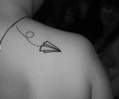 """Swoosh."" Paper airplane. Tattoos, body stamps, art."