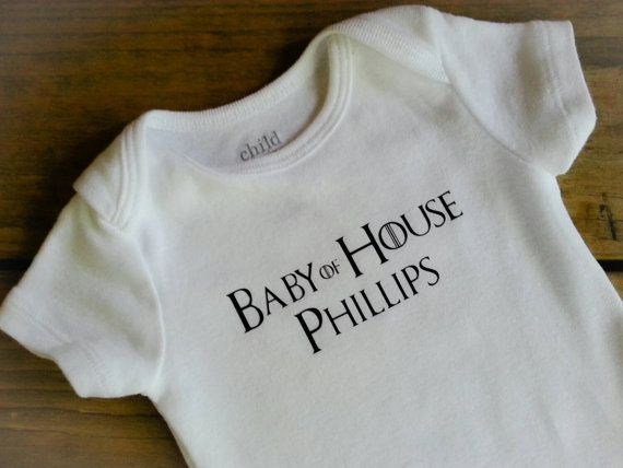 This listing is for this Game of Thrones inspired onesie personalized with the last name. Baby of House is on each onesie with the last name under. It