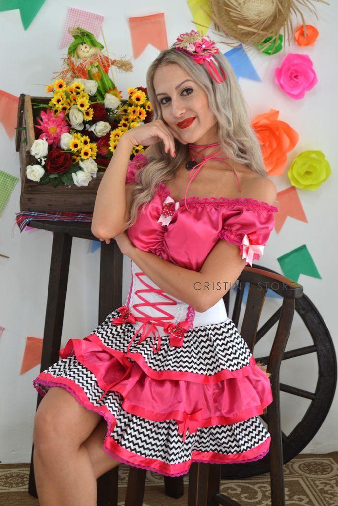 Vestido Chevron/Pink - Caipira Chic - comprar online