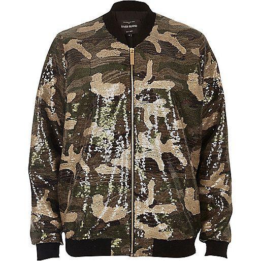Khaki sequin camo bomber jacket - coats / jackets - sale - women