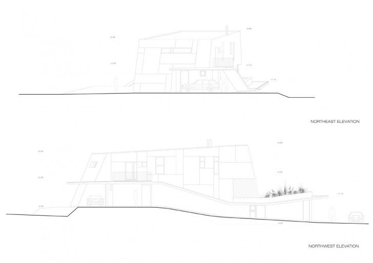 Villa:Beautiful Residence In Modern Home Design For Physical Therapist Awesome Residence H Muk Northwest And Northeast Elevation Sketchs