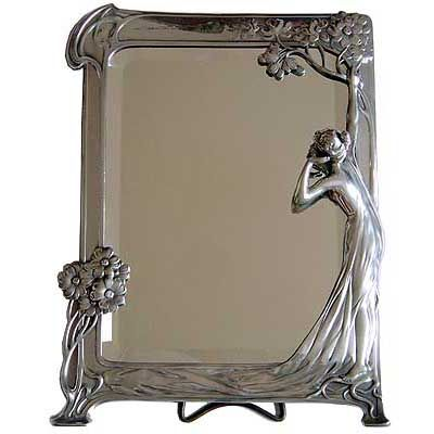The Echo Art Nouveau figural pewter mirror