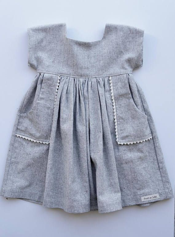 This linen toddler dress is so sweet and simple. This dress can be styled for al…