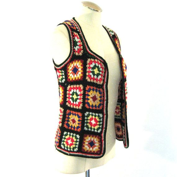 Crochet Granny Square Vest Pattern : vintage Granny Square Vest / Crochet Vest / Bohemian ...