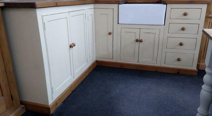 Reclaimed Pine U0026 Painted Kitchen Corner Units With Butler Sink   Showroom  Display Now £1600