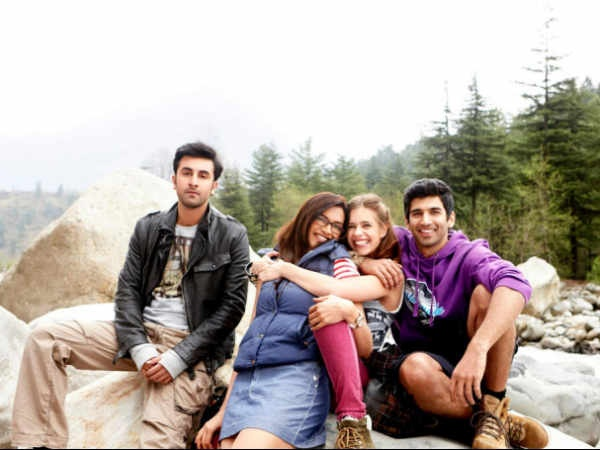 Starting from the left, Ranbir Kapoor as Bunny (Kabir Thapar)  Deepika Padukone as Naina Talwar  Kalki Koechlin as Aditi  Aditya Roy Kapur as Avi (Avinash) in the movie Yeh Jawaani Hai Deewani.