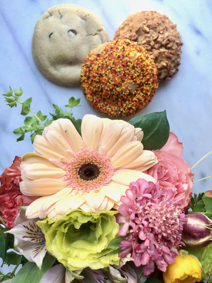 Holiday Food Gift ideas, like this Flower and Cookie Delivery in Los Angeles by Milk Jar Cookies and Gratitude Collaborative