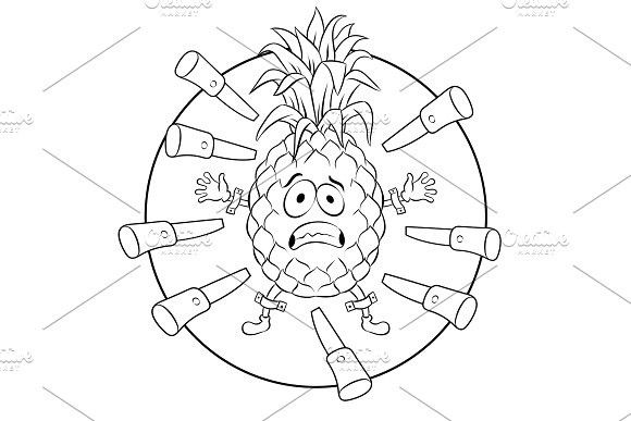 Pineapple target coloring book vector illustration | Natural ...