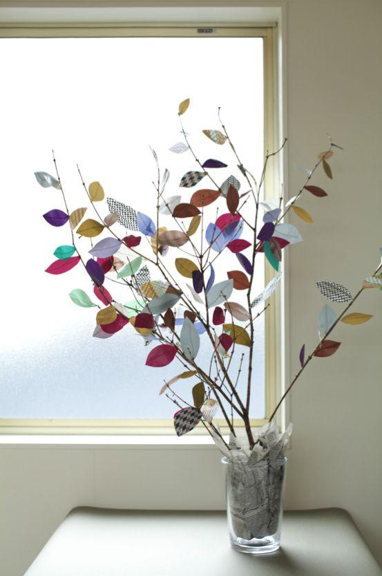 """Branchages décorés au masking tape pour un effet très """"déco"""" !"""