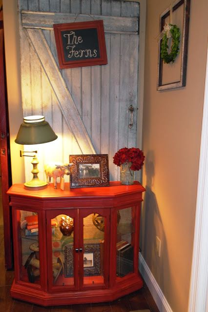 Fern Avenue: Miss Mustard Tricycle Red Curio Cabinet Makeover