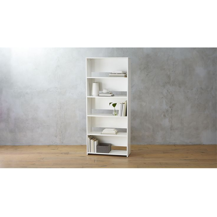 Shop getaway wide bookcase.   Possibly our most versatile bookcase ever.  Clean, bright white ladders up five shelves in engineered wood with a hi-gloss laquer.  Partially open back manages cords for an always clean view.