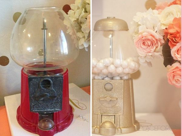 Gold Gumball Makeover Before and After - My search for a gumball machine is officially ON!