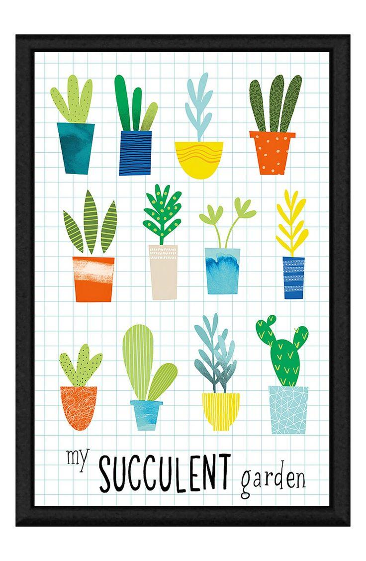 'Succulent Garden' Giclée Print Framed Canvas Art
