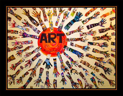 Art is EVERYWHERE! Hand and arm covered with magazine collage- Change the circle to a heart and call it heART everywhere!