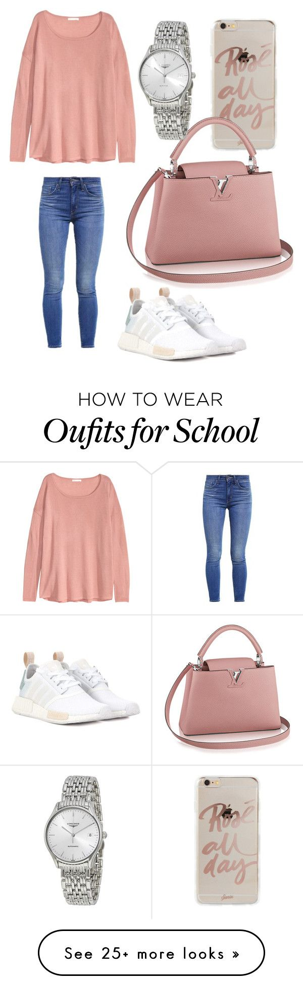 """Short school day"" by sarahfohlen on Polyvore featuring Sonix, H&M, Levi's, adidas Originals, Longines, Winter and 2k17"